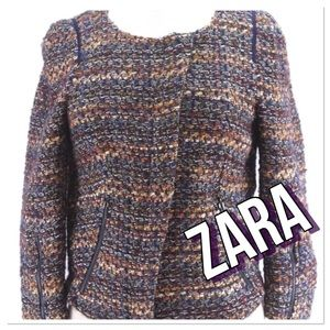 💓Zara 💓Jacket Zipper Crop Tweed Cotton Jacket XL